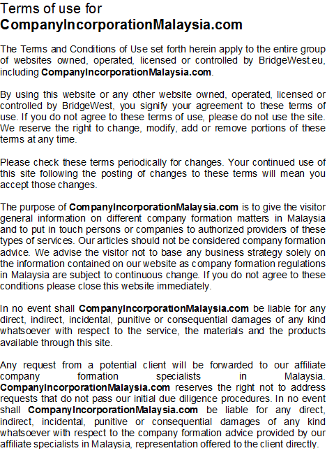 terms of use malaysia