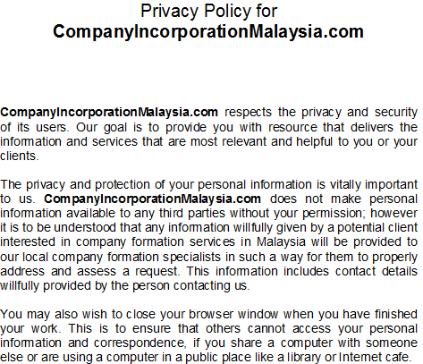 privacy policy malaysia